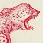 Drawing of Cheetah done in Red Ink by Evan Islam