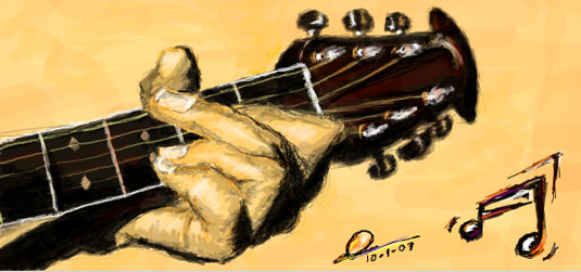Playing guitar drawing