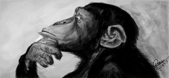 Thinking Monkey Drawing