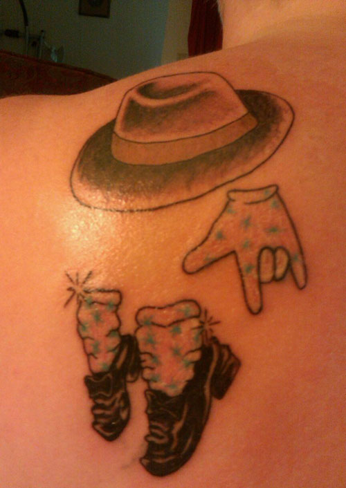Michael Jackson Tattoo: Hat, Shoes and Glove (Looks similar to the one below
