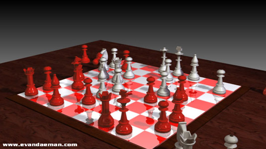 3D Chess modeled in 3D Max