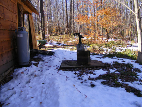 Water pump behind the cabin